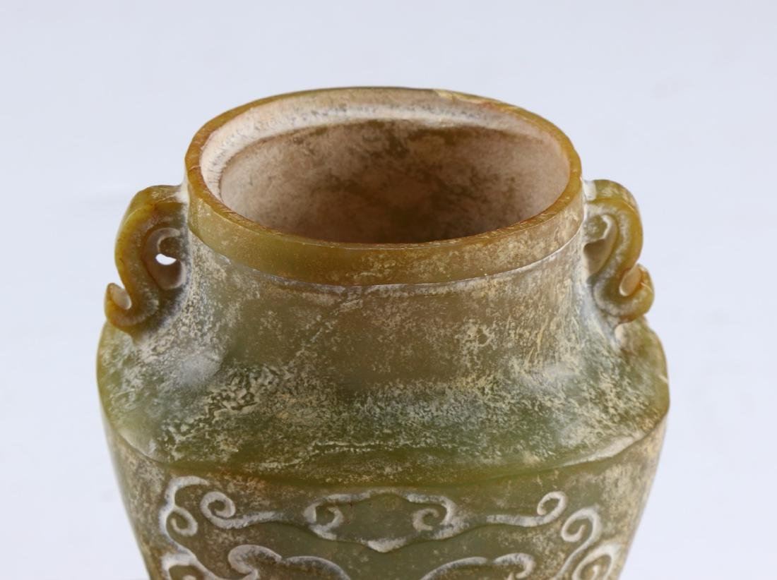 A CHINESE ARCHAIC JADE CARVED LIDDED VASE - 5