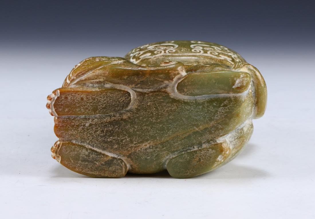 A CHINESE ARCHAIC JADE CARVED LIDDED VASE - 6