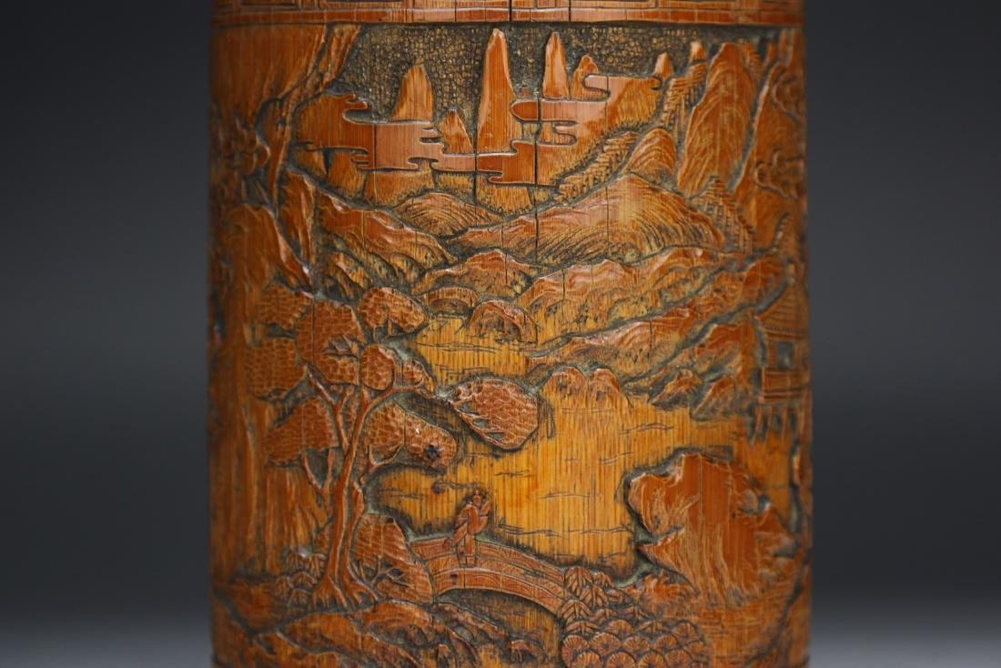 A CHINESE WELL CARVED BAMBOO CARVED BRUSH POT - 3