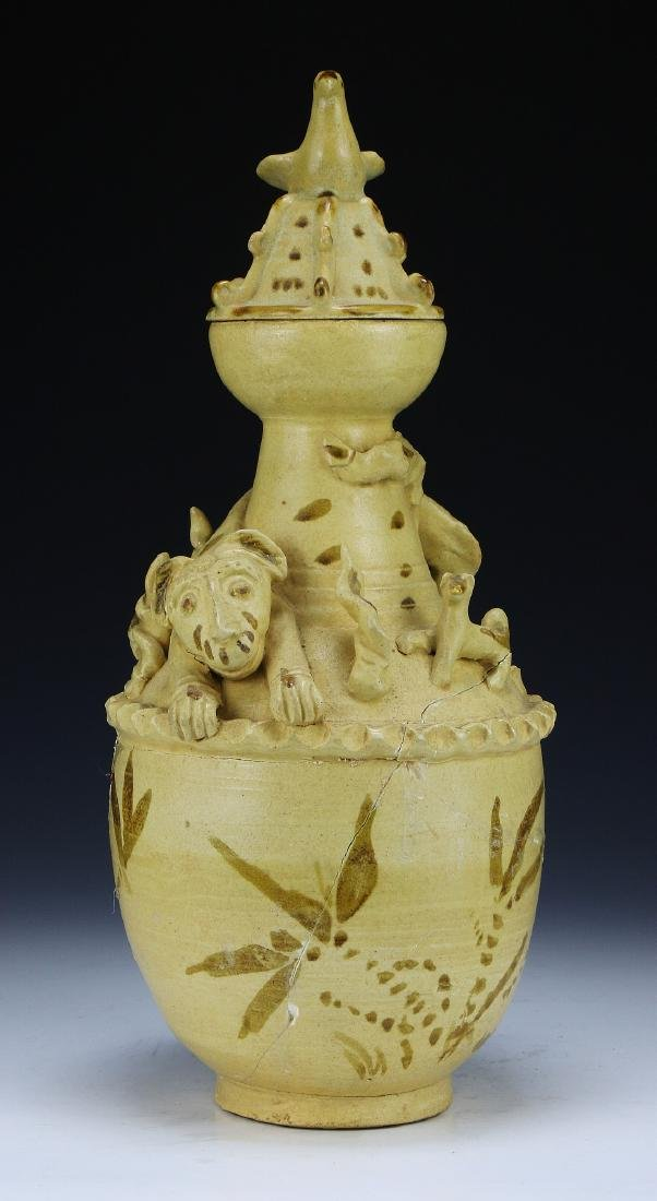 A Chinese Pottery Lidded Vase