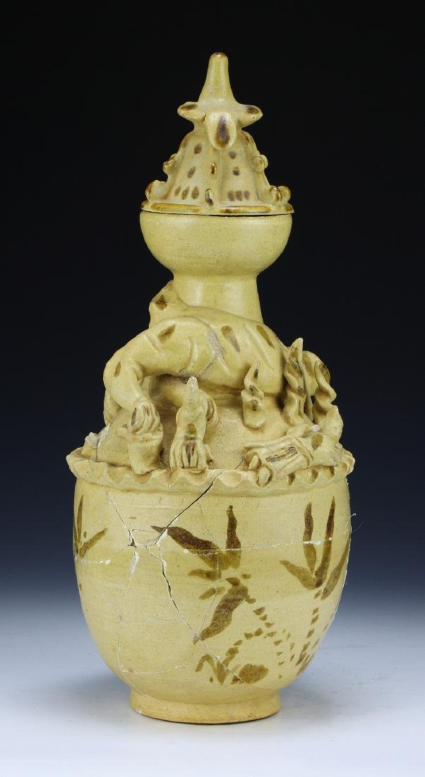 A Chinese Pottery Lidded Vase - 2