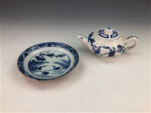 TWO 2 CHINESE BLUE WHITE PORCELAIN ITEMS