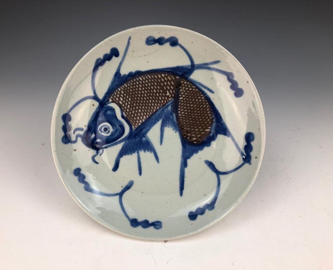 PAIR CHINESE BLUE & WHITE PORCELAIN PLATES - 2