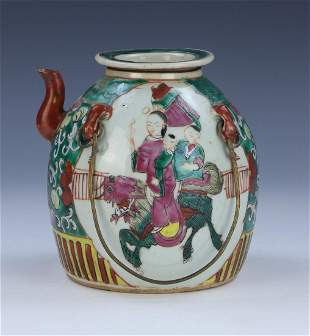 A CHINESE FAMILLE ROSE PORCELAIN TEAPOT