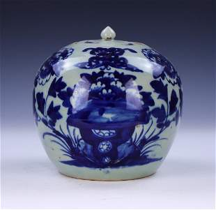A CHINESE QING BLUE WHITE JAR WITH COVER