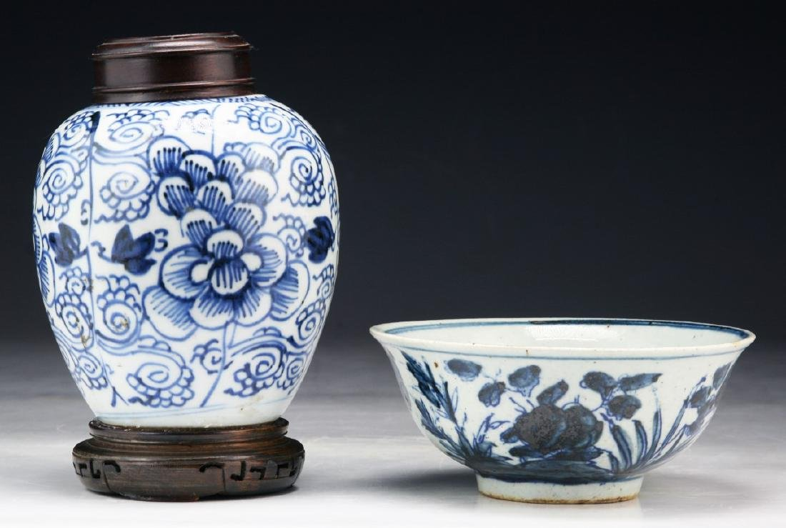 TWO (2) CHINESE BLUE & WHITE PORCELAIN JAR & BOWL