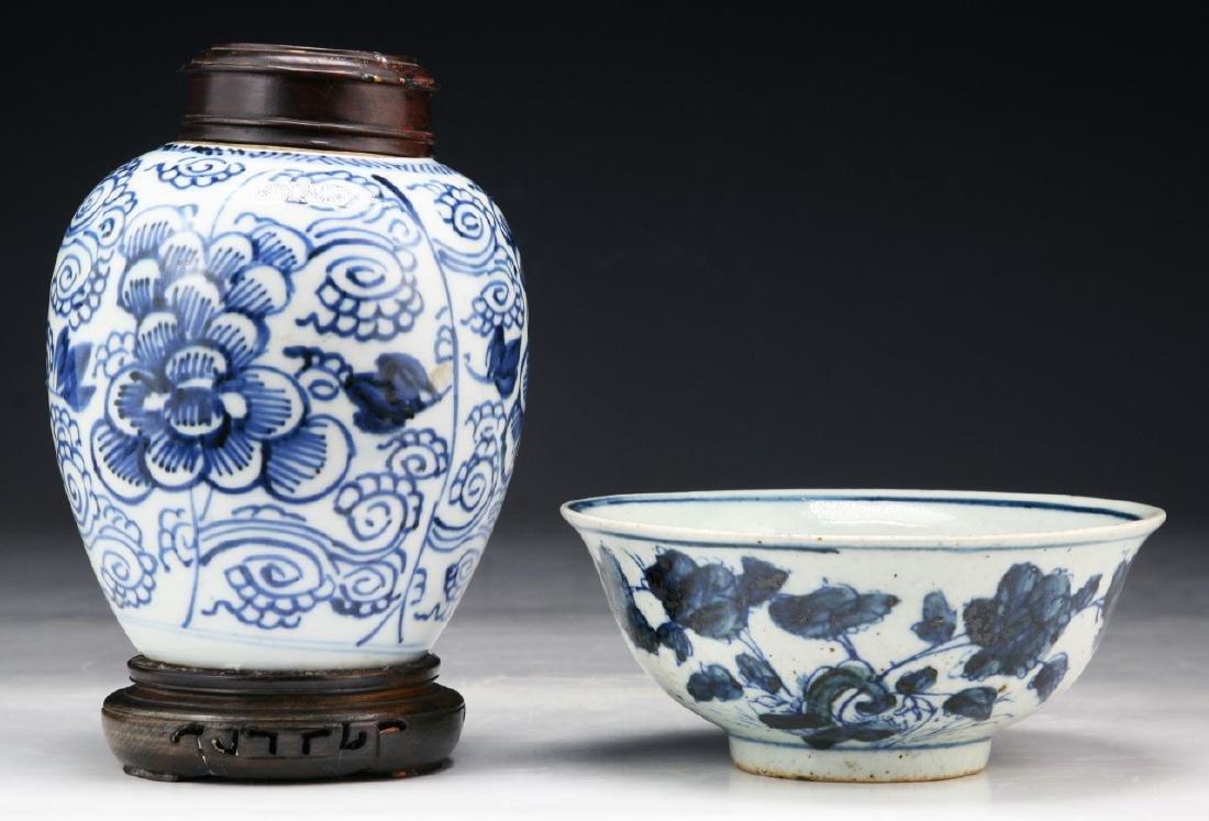 TWO (2) CHINESE BLUE & WHITE PORCELAIN JAR & BOWL - 2