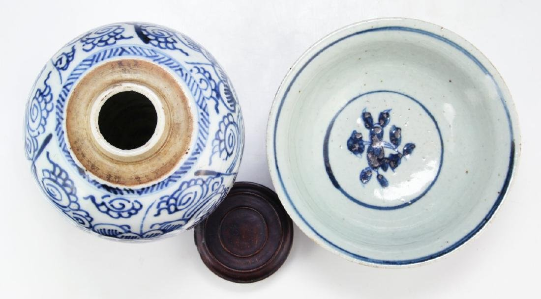 TWO (2) CHINESE BLUE & WHITE PORCELAIN JAR & BOWL - 3