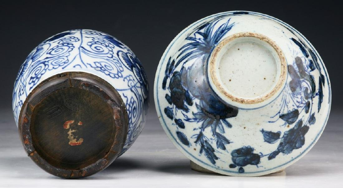 TWO (2) CHINESE BLUE & WHITE PORCELAIN JAR & BOWL - 4