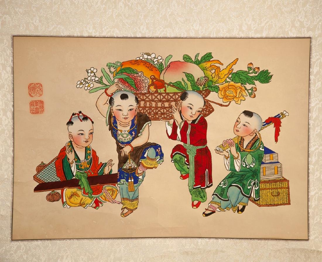 A CHINESE PAPER HANGING PAINTING SCROLL BY YANG LIU