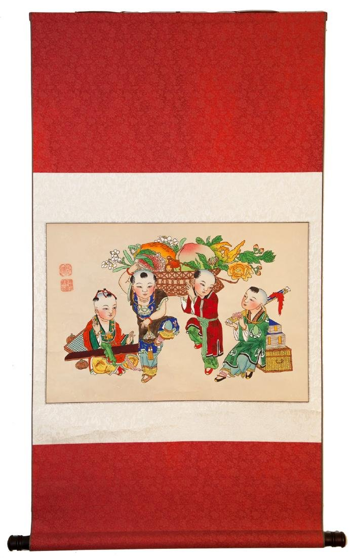 A CHINESE PAPER HANGING PAINTING SCROLL BY YANG LIU - 3