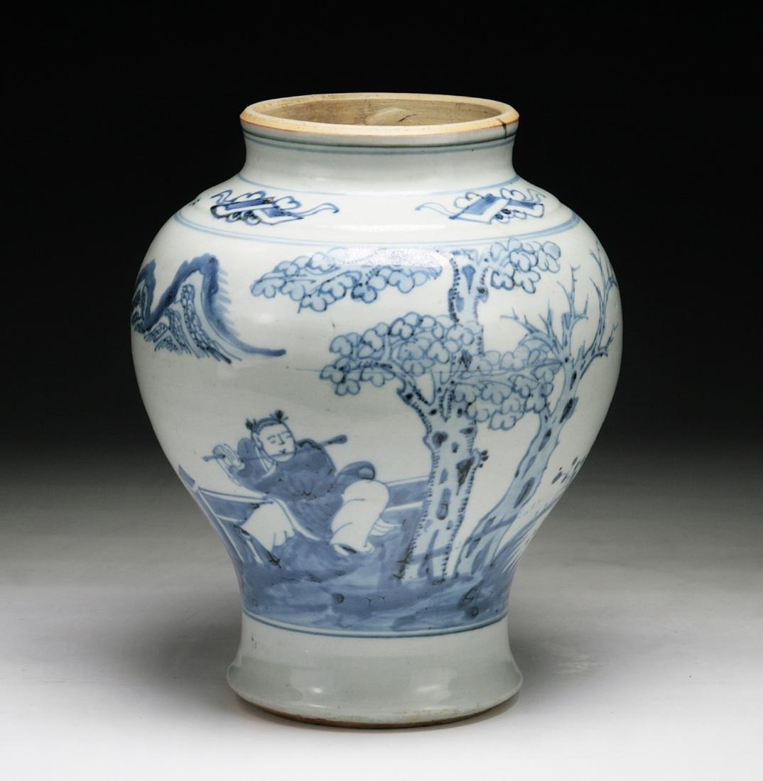 CHINESE MING-STYLE BLUE & WHITE PORCELAIN VASE