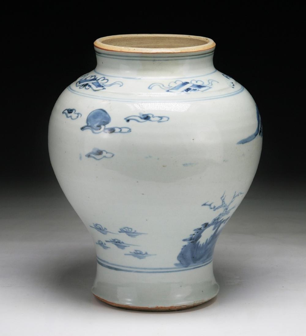 CHINESE MING-STYLE BLUE & WHITE PORCELAIN VASE - 2