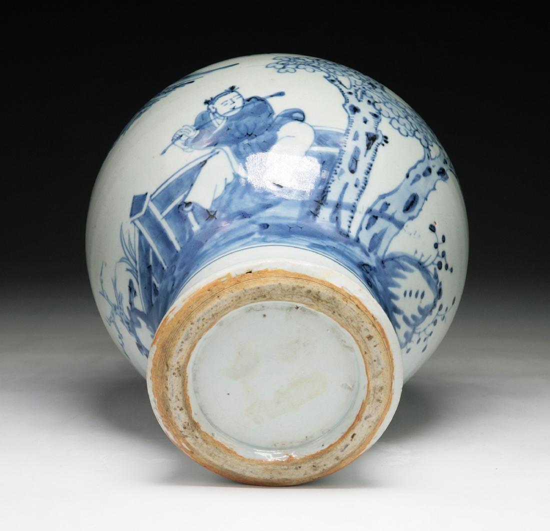 CHINESE MING-STYLE BLUE & WHITE PORCELAIN VASE - 3