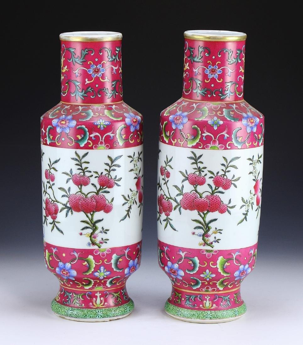 Pair Big Chinese Famille Rose Porcelain Vases