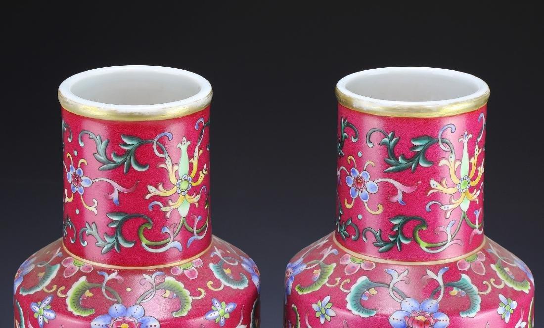 Pair Big Chinese Famille Rose Porcelain Vases - 3