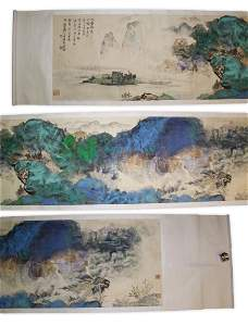A MASSIVE CHINESE PAPER PAINTING SCROLL BY ZHANG,
