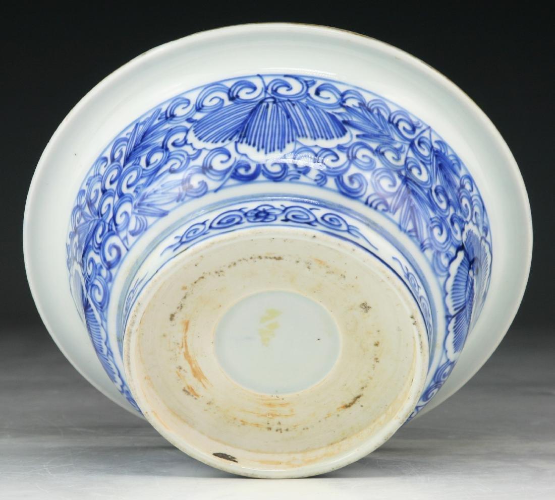 A JAPANESE BLUE & WHITE PORCELAIN BOWL - 4