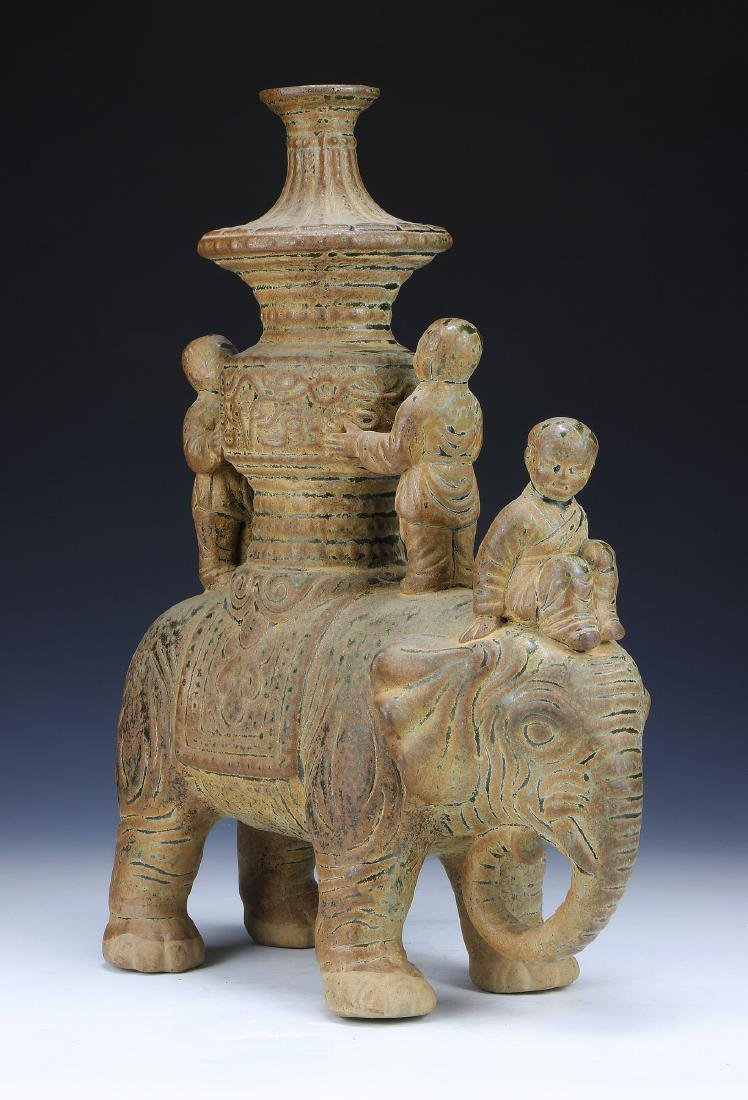 A CHINESE POTTERY FIGURE GROUP