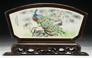 CHINESE PAINTED PORCELAIN TABLESCREEN & WOOD FRAME