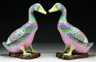 TWO 2 CHINESE PORCELAIN DUCKS