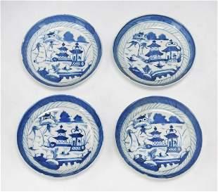 FOUR 4 BLUE WHITE PORCELAIN PLATES