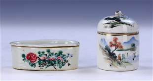 TWO 2 CHINESE FAMILLE ROSE PORCELAIN ITEMS