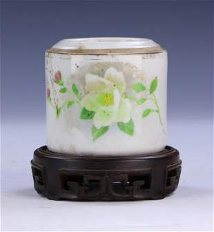 A CHINESE FAMILLE ROSE PORCELAIN CASE WITH STAND