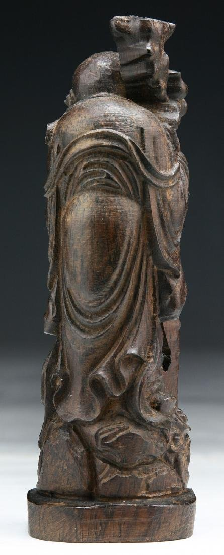 A CHINESE WOOD CARVED FIGURE - 2