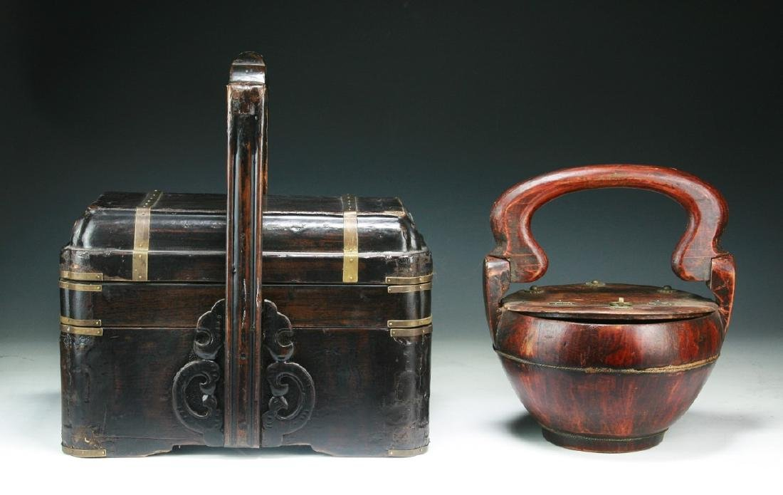 Two (2) Chinese Wood and Tiered Lacquer Boxes