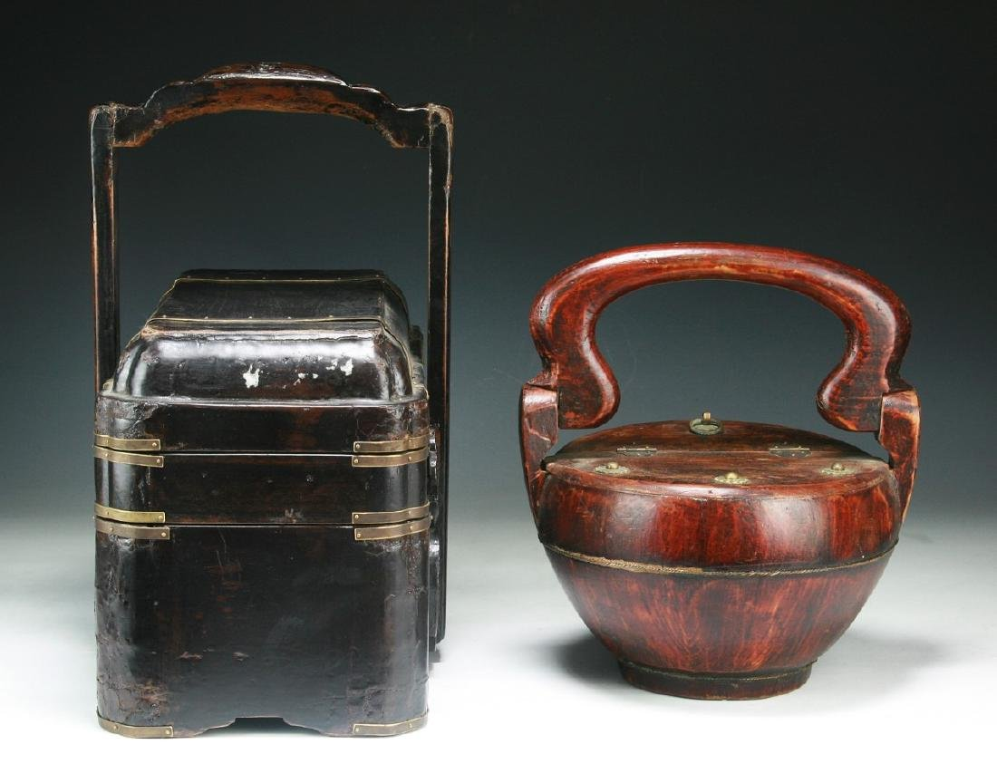 Two (2) Chinese Wood and Tiered Lacquer Boxes - 2