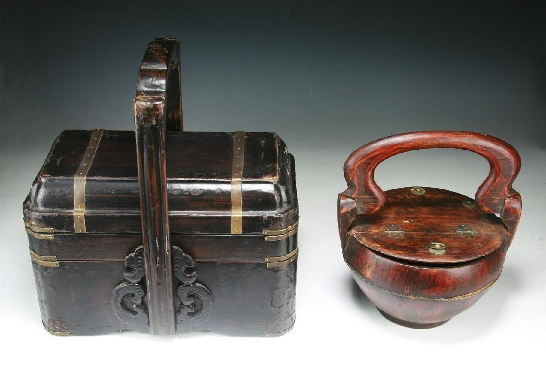 Two (2) Chinese Wood and Tiered Lacquer Boxes - 3