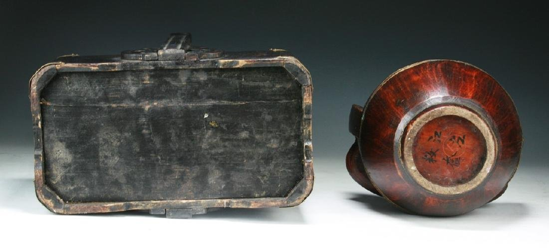 Two (2) Chinese Wood and Tiered Lacquer Boxes - 4