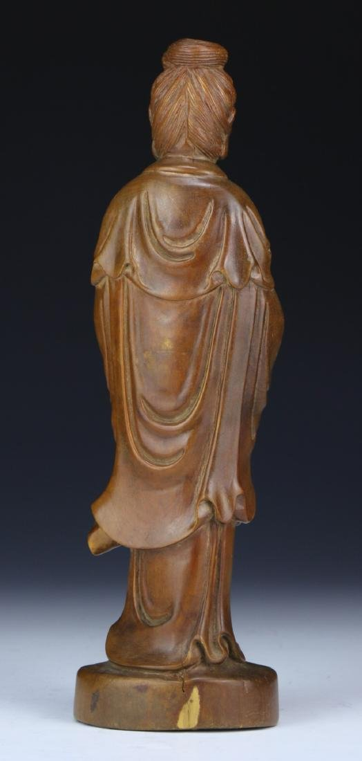 A CHINESE WOOD CARVED GUANYIN - 2