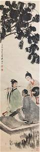 A CHINESE PAPER HANGING PAINTING SCROLL BY FU, BAOSHI