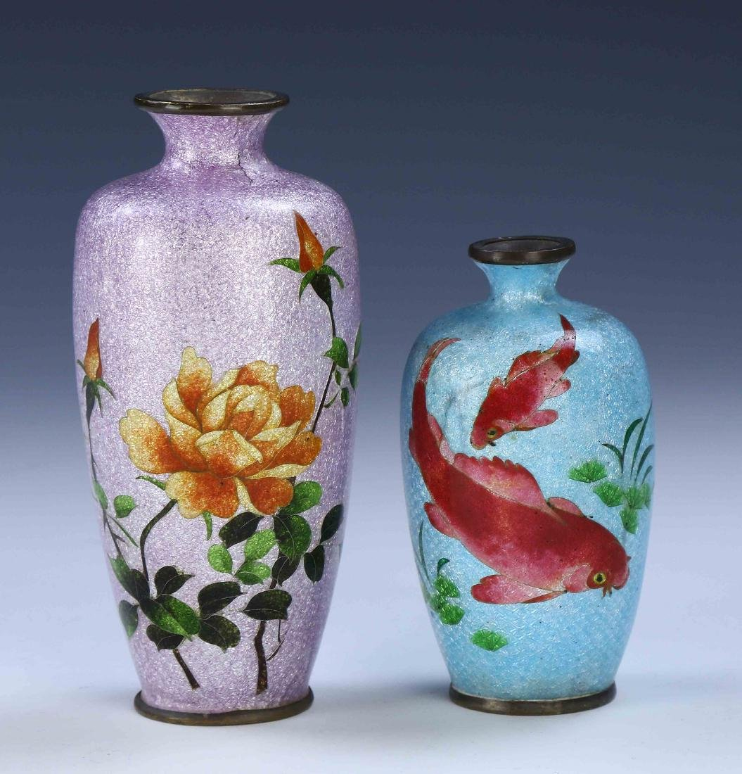 TWO (2) JAPANESE CLOISONNE VASES