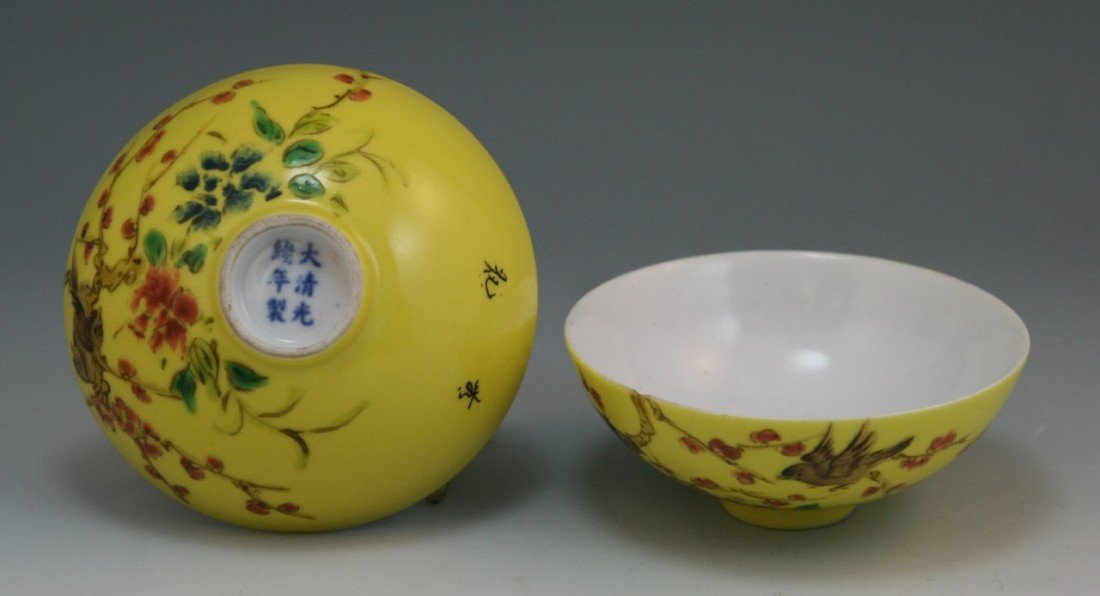 4: Pair Antique Chinese Famille Rose Porcelain Bowls