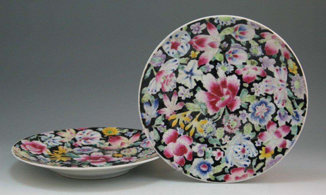 6: Antique Chinese Millefleur Famille Noire Plates