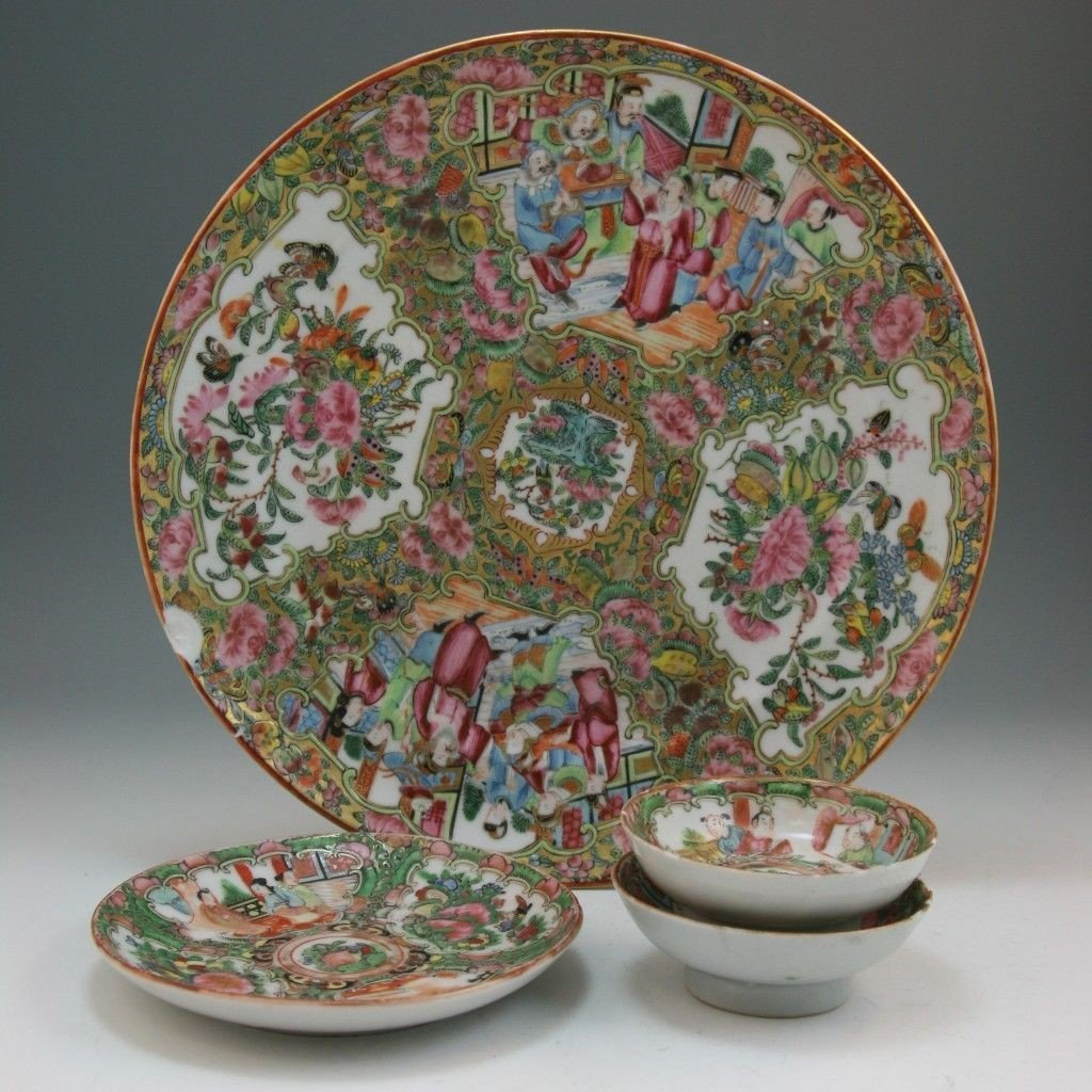 12: Four Chinese Canton Style Famille Rose Porcelain