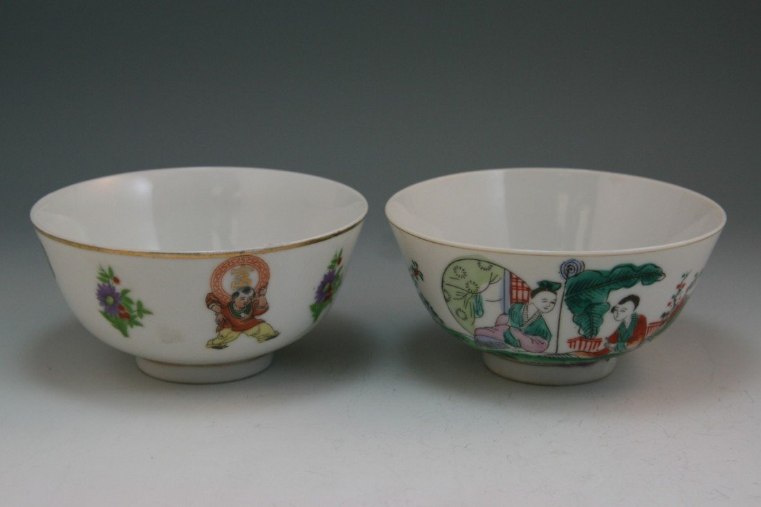 13: Pair Chinese Minguo Famille Rose Porcelain Bowls