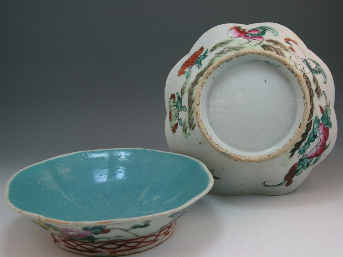 16: Two Chinese Minguo Famille Rose Footed Porcelains