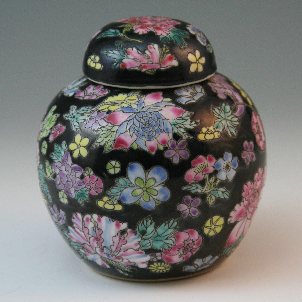 34: Chinese Millefleur Famille Noire Porcelain Jia