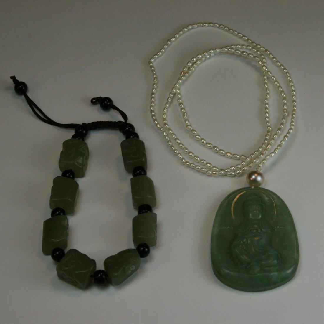 90: Chinese Celadon Jade Bracelet and Pendant
