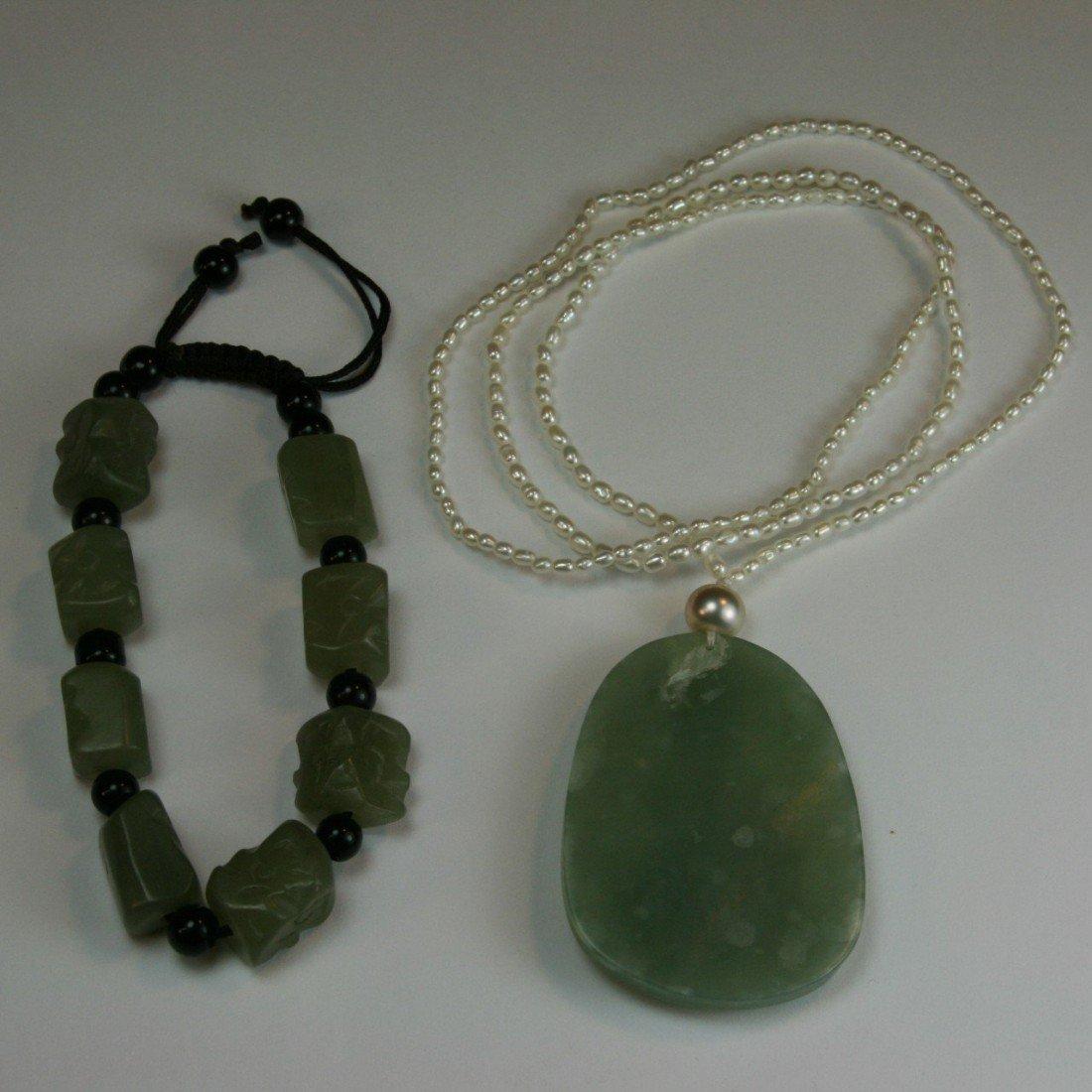 90: Chinese Celadon Jade Bracelet and Pendant - 2