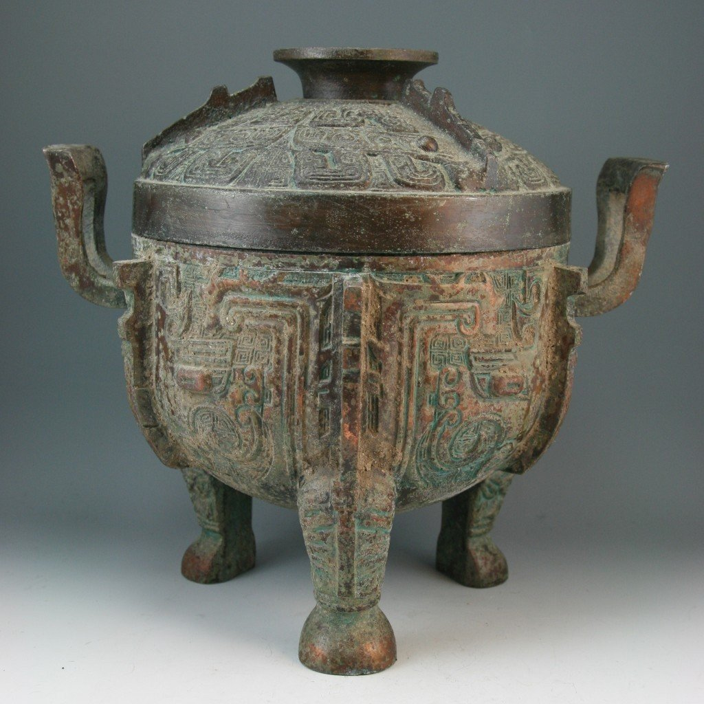 266: Chinese Patinated Tripod Copper Cauldron(Ding)