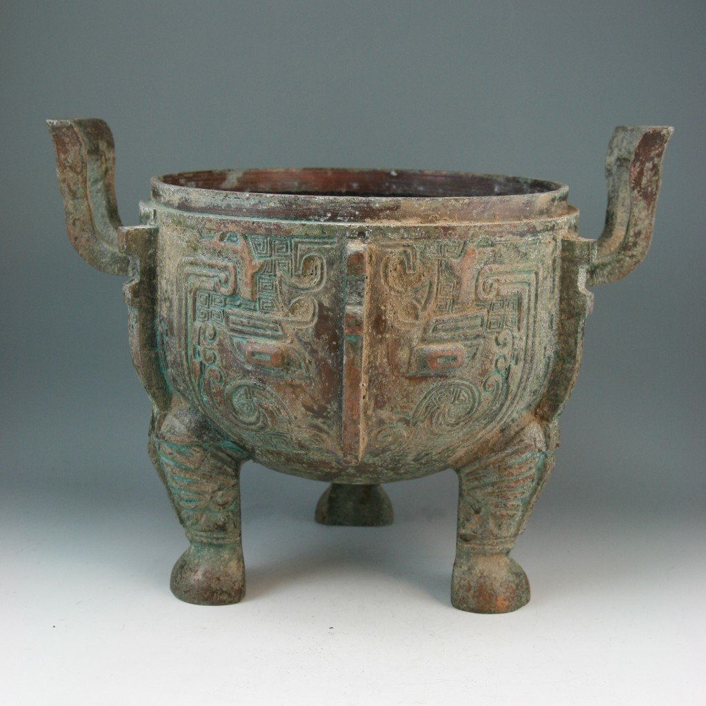 266: Chinese Patinated Tripod Copper Cauldron(Ding) - 2