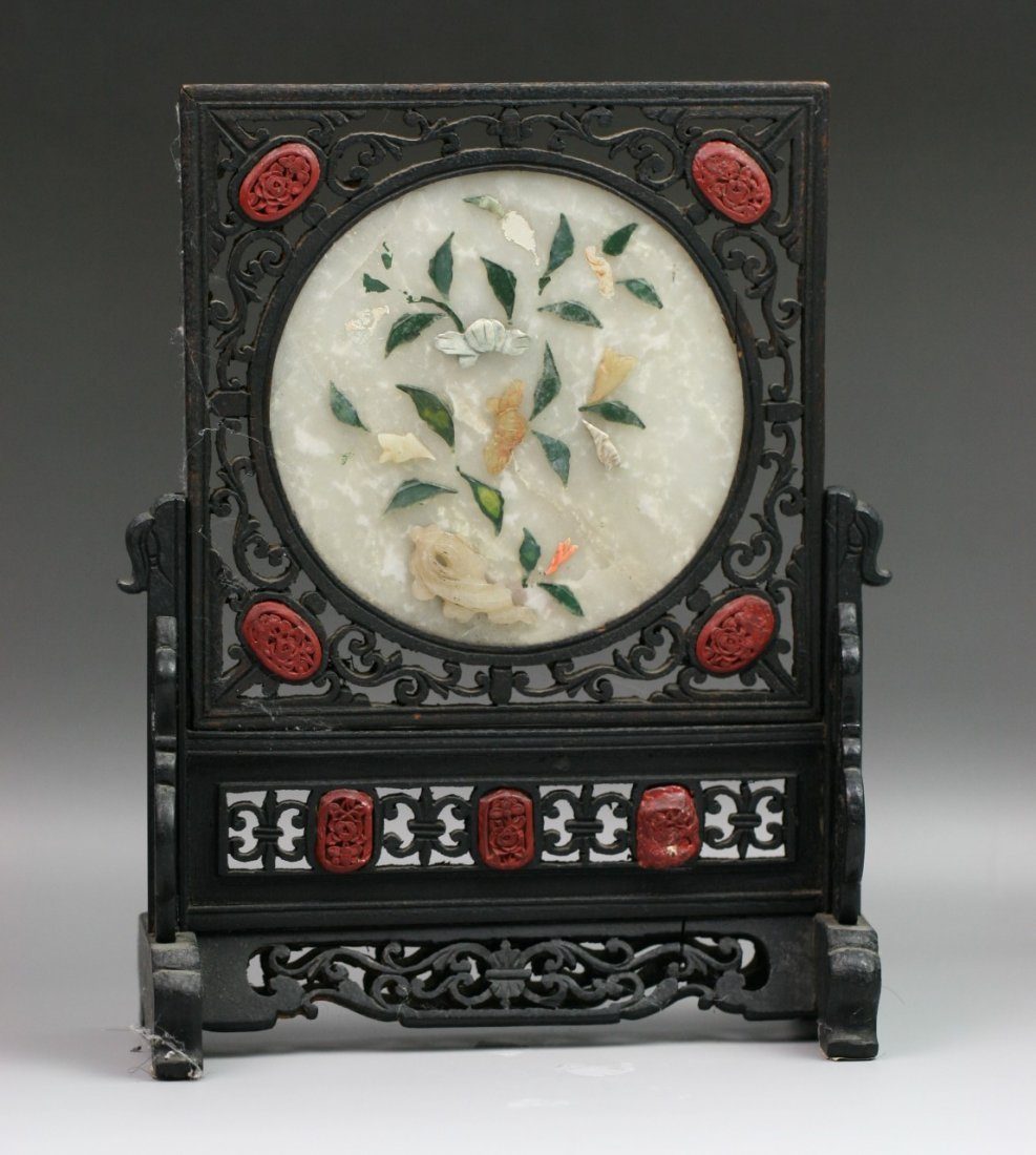 7: Chinese Carved Antique Jeweled Table Screen