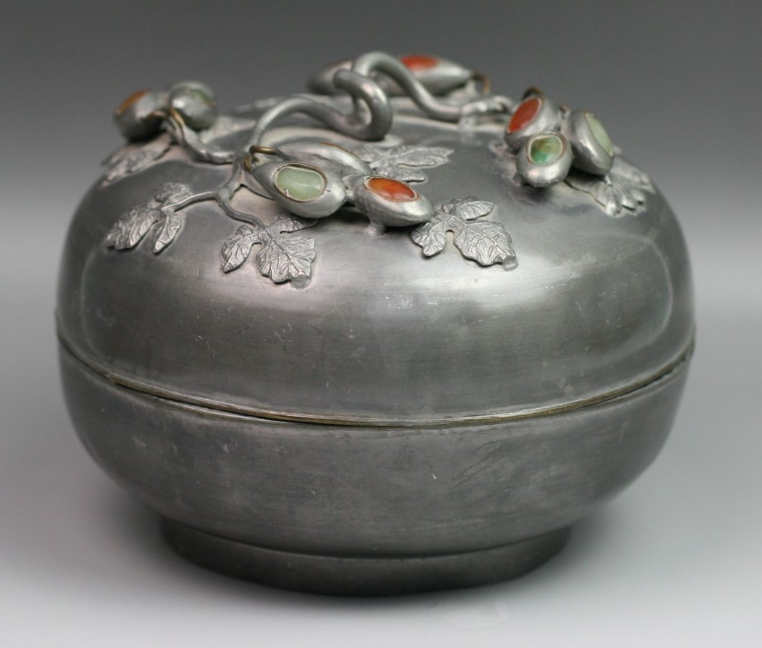 9: Chinese Antique Jeweled Pewter Box With Cover