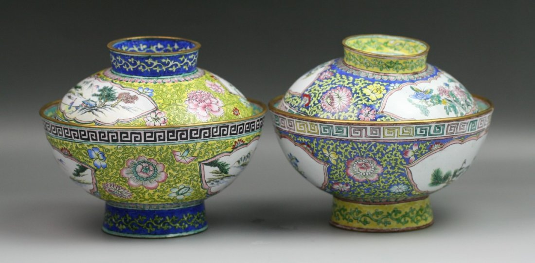 11: Pair Chinese Antique Enamel On Copper Bowls