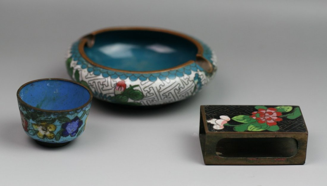 12: Three Antique Qing Dynasty Chinese Cloisonne